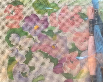 """11 1/2 x 11 1/2 Cross Stitch Kit """"Pastel Flowers"""" w/ 24 assorted cotton thread by:Old Town NeedleWork"""