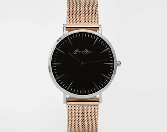 Ladies Watch, Women Leather bracelet, minimalist, gift for her, cheap leather watch, Christmas Watch, Rose Gold Mesh (Silver/Black)