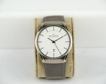 Men's Skagen Aktiv White Dial Steel Mesh Watch Model 956XLTTW