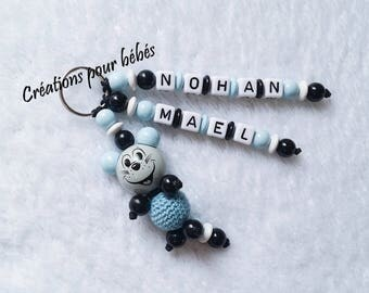 "Keychain 3D ""Mouse"" with wooden beads in the first names of your choice"