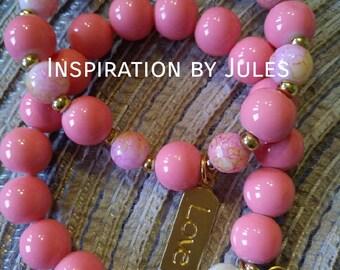 Bright pink bracelets duo