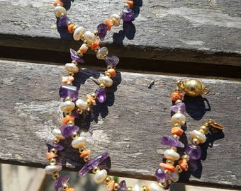 Amethyst necklace,gemstones,gold coloured beads necklace