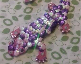 Cute salamander put purple pink shades