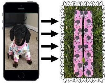 Pink Background Custom Dog Socks, Dog Face Socks, Design your own Dog Socks, Pup Socks