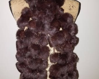 100% Rabbit Fur brown scarf or neck wrap