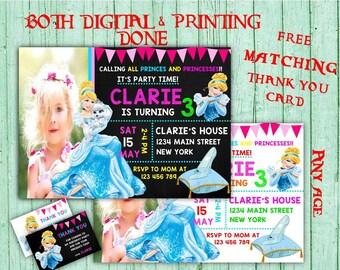 Princess Cinderella Birthday Invitations Cinderella Photo Birthday Party Disney Cinderella Kids Birthday Printable Invites Disney Princess