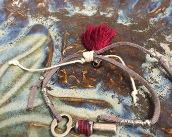 Adjustable Skeleton Key Bracelet with Tassel