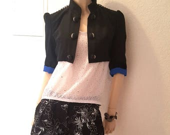 Short jacket black blue Interior