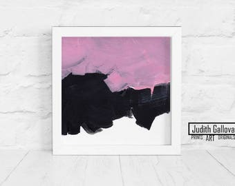 Abstract Minimalist Painting, Pink Black And White, Brush Stroke Wall Art, Expressionionist Wall Decor / 8x8'' Acrylic On Canvas