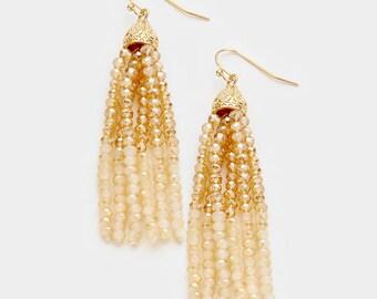 Beige Color Block Seed Beaded Tassel Earrings