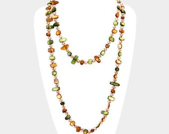 Green Multi Beaded Wrap Necklace