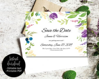 Editable Save the Date PDF, Wedding Save the Date Template, Printable Wedding Save the Date, DIY Save the Date, Watercolor Border 9 SAVE-9