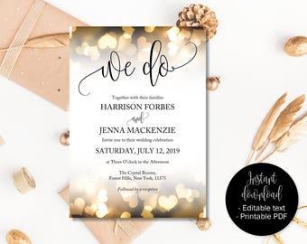 Gold Wedding Invitation Printable, Editable Wedding Invitations, Wedding Template Download, Invitations Wedding PDF, We Do Hearts INV-19