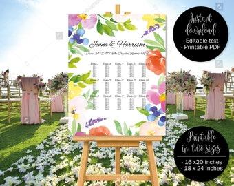 Wedding Seating Chart Plan Printable Template, Watercolor Floral Wedding Template Seat Plan, Wedding Table Plan Chart, Border 3 SEATING-3
