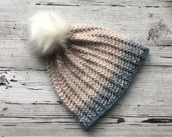 FREE SHIPPING Soft Blue and Cream Beanie with Faux Fur PomPom