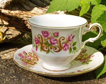 Queen Anne Teacup and Saucer 8505 Bone China Made in England Vintage 1950s
