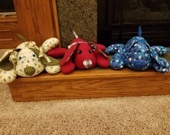 Shipped -Keepsake Memory Puppy, Memory Animal from baby's upcycled blanket/pj's, In-Memory Friend made from a Special Loved Ones Clothing