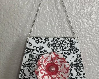Paper Purse in Black and White Embossed Paper