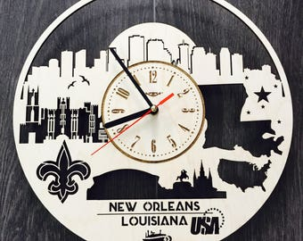 New Orleans Louisiana Wood Clock Skyline Home Decor Wood Wall Art Hanging  Steampunk Wedding Decal Wood