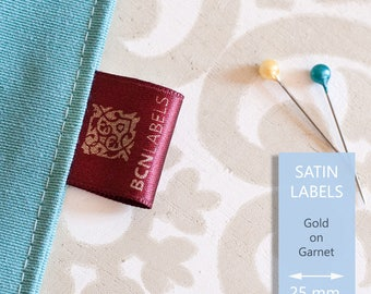 GOLD ON GARNET Custom Printed Soft Satin Clothing Labels 25 mm / Care Labels / Sew in Fabric Labels
