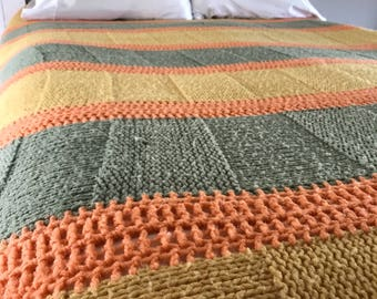 Vintage Kitsch multi colored knitted 70's blanket