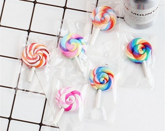10pcs Lollipop Charms, Lollipop in bags resin charms, Candy charm, Polymer charms, DIY Jewelry pendant supplies, Food charms, Rainbow charms