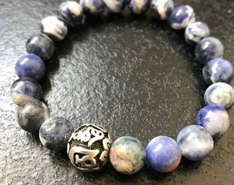 Natural beads and Tibetan prayer bead stainless steel
