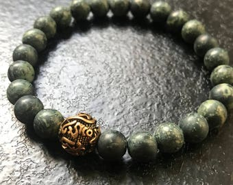 Agate gemstone beads matte green and bronze Tibetan prayer bead