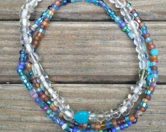 Turquoise multi color anklet set.