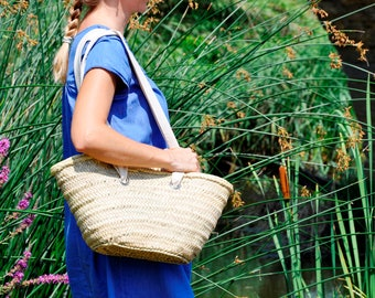 Basket straw bag Handmade with long fabric handles - Straw bag, Summer carrycot bag, palm tree leaves bag, market bag, french market basket