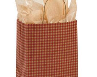 25-Medium Red Gingham Paper Shopper 8 1/4x4 3/4x10 1/2