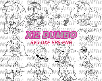 dumbo svg, clipart, eps, dxf, png, decal, stencil, vinyl, silhouette, vector, cute elephant, iron on, image, line art