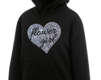 Personalised glitter girls flower girl flowergirl hearat print hoody hoodie bridal party wedding customised junior bridesmaid