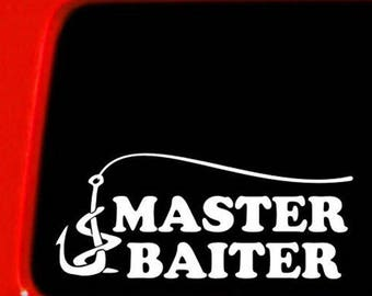 Fishing Master Baiter | 6 Inch Die Cut Vinyl Decal White Black Red Blue Pink And Hot Pink