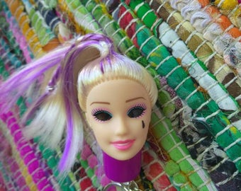 Punk Barbie Head LED Keychain