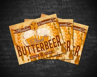 "Butterbeer Printable Labels, Avery 22827 Template, 4.75"" x 3.5"" Butterbeer Printable Labels, Birthday Party Printables, Instant Download"