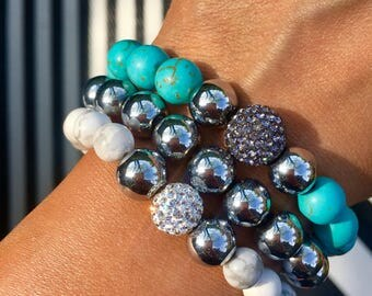 The San Remo bracelets Set / unique pieces / shipping worldwide/ turquoise/ armcandy