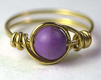 Brass ring Purple semi-precious magnesite 6mm bead 20 gauge brass wire wrapped