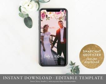 Instant Download | Boho Flowers Wedding Snapchat Geo Filter  | Editable Geofilter | Rustic Leaves, Boho Wedding | DC007