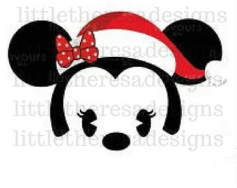 Minnie Tsum Tsum Santa Head Transfer,Digital Transfer,Digital Iron On,Diy