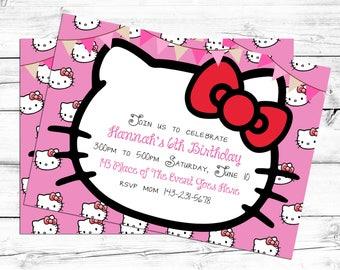 Hello Kitty. Hello Kitty Birthday Card. Hello Kitty Invitation Card