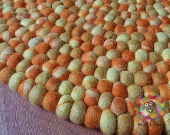 Round Felt Ball Rug. Tie Dye  pom pom, Double Yellow Tie Dye stone Pebble wool Nursery Rug .100 % wool Nepal Rug (Free Shipping)
