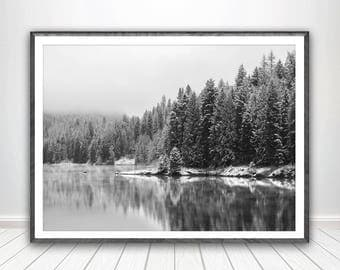 Snow Forest Print Art Black and White Forest Poster Nature Poster Pine Trees Print Art Lake Print Lake Art Woodland Print Forest Photography