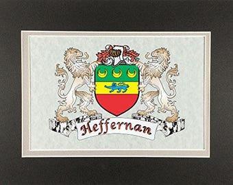 "Heffernan Irish Coat of Arms Print - Frameable 9"" x 12"""