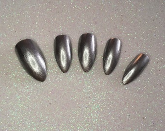 READY TO SHIP * Silver Hand Painted Press On Nails * Fake Nails * False Nails