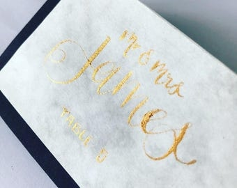 Calligraphy Place Names on Marble Effect Paper, Handwritten Place Cards, Placecards, Wedding Stationery, Party Accessory