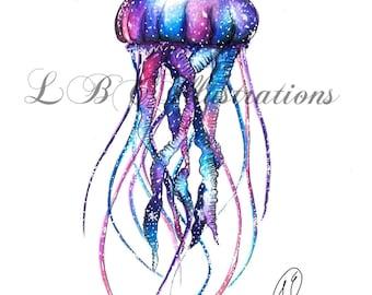 Galaxy Jellyfish Print
