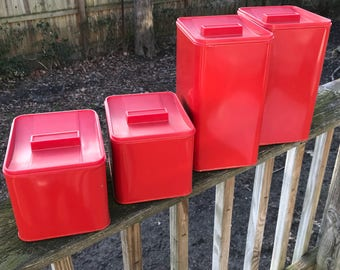 Vintage 1960's Bright Red Metal Canister Set