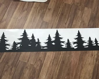 Pine tree line car decal