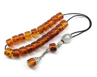 Cognac Amber color Komboloi, Worry Beads, Greek Komboloi, Relaxation. Meditation, Tesbih, Gift for Men, Stress Relief, Prayer Beads, Tesbih